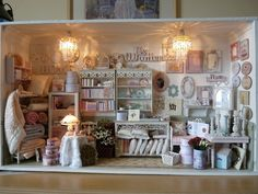 Miniature Shabby Chic Shop in 1/12 scale - room box