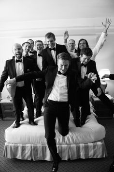 Grooms, have some fun with your groomsmen while getting ready for the wedding!                                                                                                                                                     More