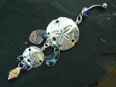 double sand dollar belly ring abalone seashells in beach boho gypsy hippie tribal belly dancer beach hipster and fantasy style