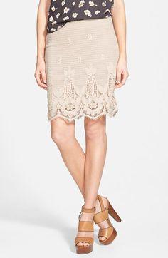 d815edf682 Wayf Crochet Miniskirt available at #Nordstrom Long Pencil Skirt, Denim Pencil  Skirt, High