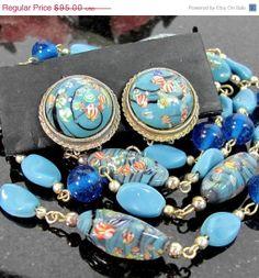Sale Vintage VENETIAN Glass Bead Necklace Clip by ShootingCreek, $71.25