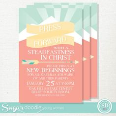 LDS New Beginnings Invitation  Young Women Theme by SugarDoodleYW