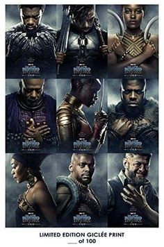 RARE POSTER thick chadwick boseman BLACK PANTHER marvel 2018 character REPRINT #'d/100!! 12x18