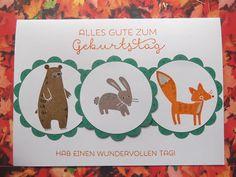 """Sconebeker Stempelscheune: Kindergeburtstagskarte mit den Waldtieren aus """" Thankful Forest Friends """""""