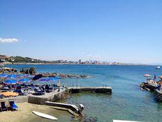 Panorama of the beach club and the sea from the restorante in Castiglioncello