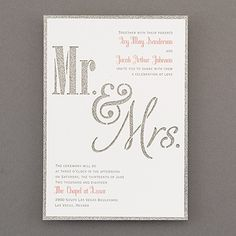 """Glittered Bliss - Invitation - Getting married with glam? Here's the way to announce it: a silver glitter backer card that shows through a die-cut """"Mr. Wedding Invitation Trends, Discount Wedding Invitations, Silver Wedding Invitations, Invitation Ideas, Wedding Centerpieces, Wedding Bouquets, Glitter Wedding, Silver Glitter, Metallic"""