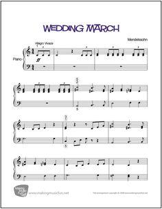 Wedding March (Mendelssohn) | Sheet Music for Piano Solo (Digital Print)
