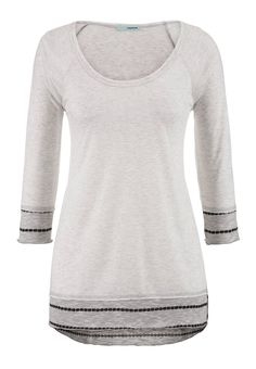 light gray contrast knit bottom tunic tee 43480