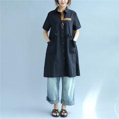 String Pocket Short Sleeves Women Summer Splicing Black Dress