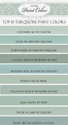 Top Ten Turquoise Paint Colors  I would add Enamelware by Martha Stewart or Bird's Egg by Benjamin Moore....both are fresh clean and lovely by kristie
