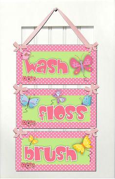 Sweet butterflies themed bathroom rules  wash floss by kasefazem, $19.99