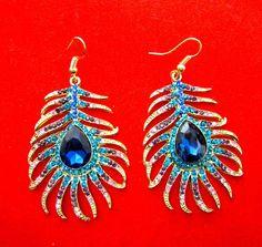 Peacock Feather Shape Alloy Dangle Earrings
