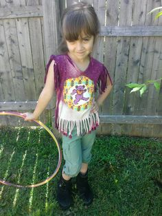 Galaxy Refashioned Dancing Bear Girls Grateful Dead Hippie Festival Fringe Top, size youth XS, OOAK, ready to ship, FREE gift wrap option by jamnjellybeans on Etsy