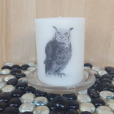 """Scented """"Owl Spirit Totem"""" pillar candle/wisdom and knowledge/no tolerance for illusions and secrets/keen vision/power of silence      Available in these lovely fragrances:    Black Cherry - A strong aromatic scent of ripened sweet black cherries with faint undertones of musk. All the sweetness of Cherry while adding rum notes and deep red tartness.    Blueberry Muffin, The fragrance is juicy and mouth-watering, and makes an ideal present for someone who loves a fruity, warm fragrance…"""