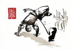Illustration : Capoeira – 806 [ #capoeira #watercolor #illustration] aquarelle sur papier 300gr / watercolor on paper 300gr 10.5  x 14.8 cm / 4.1 x 5.8 in