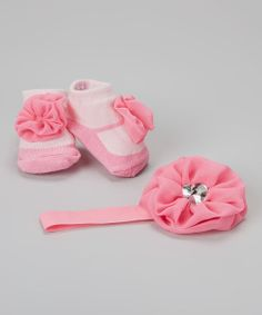 Take+a+look+at+the+Baby+Essentials+Pink+Flower+Headband+&+Socks+on+#zulily+today!