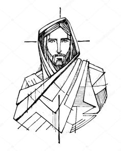 Hand Drawn Vector Illustration Drawing Jesus Stock Vector (Royalty Free) 661248748 - Hand drawn ink vector illustration or drawing of Jesus Christ and a Cross - Jesus Tattoo, Drawing Cartoon Characters, Cartoon Drawings, Catholic Art, Religious Art, Ink Vector, Croix Christ, Jesus Drawings, Jesus Christ Drawing