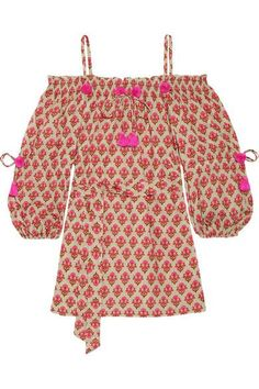 Figue - Iman Embellished Off-the-shoulder Cotton Tunic - Pink - x large
