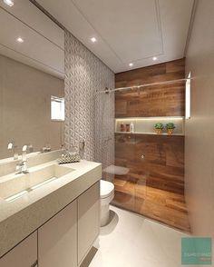 """73 curtidas, 6 comentários - Decor and Fun @alcearquitetura (@decor_and_fun) no Instagram: """"Banheiro lindo com revestimento 3D, área de banho com porcelanato amadeirado e um nicho iluminado…"""""""