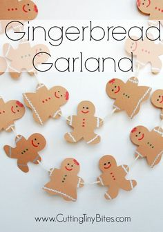 Gingerbread Garland- Great Christmas craft and decoration for toddlers…