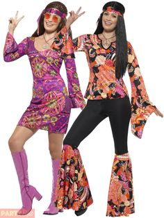 64ff94f22c6c Ladies Hippie Hippy Flares + Top Costume Adult 60s 70s Fancy Dress Womens  Outfit