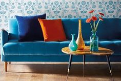Folia Velvets - Blue Interior Design Fabric - Sofa - Cushion