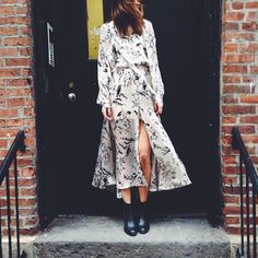 Mercer: Renee at our Mercer St stores wears the Fortune billow dress, classic boot from Tell Me Seer.