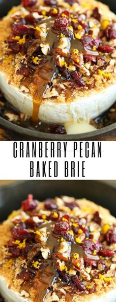 Cranberry Pecan Baked Brie Recipe – creamy gooey cheese topped with tarty cranberries and sweet toasted pecans. Brie Appetizer, Cheese Appetizers, Yummy Appetizers, Appetizer Recipes, Baked Brie Recipes, Baked Brie Toppings, Baked Brie Cranberry, Xmas Food, Fun Easy Recipes
