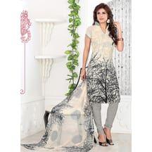 Khushali Presents Chikoo,black Printed Crepe Chudidar Unstitched Dress Material