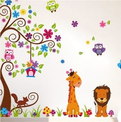 Jungle zoo with owls scroll tree wall decal