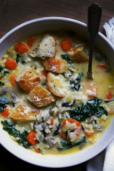 Preparing this delicious Wild Rice, Mushroom, and Kale Soup is easy with Canoe!