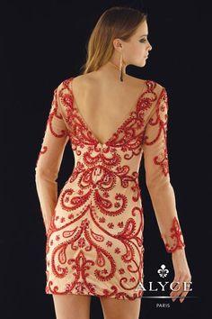 2014 Alyce Short Homecoming Long Sleeved Dress 2364