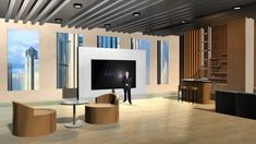 The conference room space with a bar, sofas and floor-to-ceiling windows creates a warm office virtual set. Virtual Studio, Floor To Ceiling Windows, Stage Design, Tvs, This Is Us, Presentation, Warm, Home Decor, Set Design