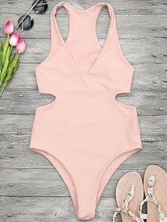 SHARE & Get it FREE | V Neck Cut Out One Piece Swimsuit - Orangepink MFor Fashion Lovers only:80,000+ Items • New Arrivals Daily Join Zaful: Get YOUR $50 NOW!