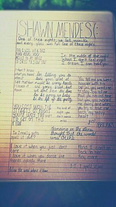 Shawn mendes song lyrics