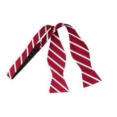Bordeaux Red White Striped Self-Tie Bow Tie www.vonfloerke.com