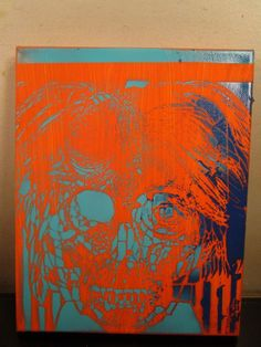 abstract painting canvas signed by artist musk~yai 8x10 of andy warhol zombie~ #Abstract
