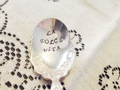 La Dolce Vita Hand Stamped Vintage Silver Plate Sugar Spoon The Sweet Life