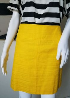 Banana Republic Women's Size 8 Bright YELLOW Linen Blend Mini Skirt #BananaRepublic #Mini