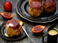 Steamed tamarillo and ginger puddings – Recipes – Bite Ginger Pudding Recipe, Pudding Recipes, Lemon Recipes, Baking Recipes, Old School Desserts, Healthy Dessert Recipes, No Bake Cake, Pepper, Puddings