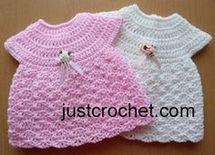 "Free baby crochet pattern premature dress usa ~ fits 12"" chest - finished length from shoulder approx. 9.75"" ~ FREE - CROCHET - PREEEMIES"