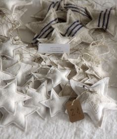 cloth star ornaments--This was already on my list. We'll use part of an old sheet.