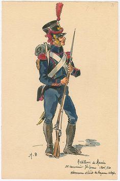 Naples; Marine Artillery, 1st Class Gunner, Grande Tenue, 1810