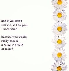 Daisies are special. So am I. Maybe I'm not as beautiful or cool, but I'm special on the inside. Why can't you see that?