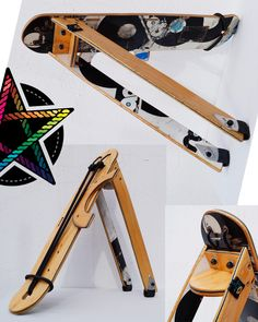 Unique Bike luggage rack handcrafted from a used skateboard. travel smart with your luggage and your skateboard on your racebike. This Rack looks great and is one of a kind. Its super sustainable and multifunctional.  have a nice rid with this amazing Bike Luggage Rack