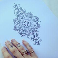 Ellietattoo instagram; mandala tattoo flash/idea.
