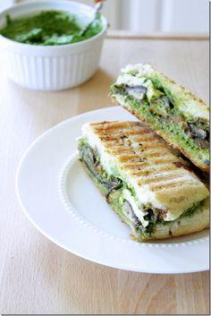 Portobello Mushroom Pesto Panini Recipe. #Sandwich Recipes
