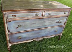 antique dresser hand painted and waxed by Shizzle Design in CeCe Caldwell's Chesapeake Blue, Aging Dust, Dover White, vintage Michigan chalk clay paint front vintage best pictures painted furniture 4