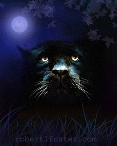 black panther art print wildlife art- Child Of The Night - panther - leopard- painting