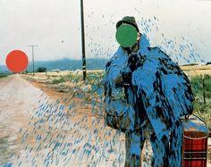 """hitchhiker splattered blue"" by john baldessari. i normally don't like photographic art like this but i just really love john baldessari's work."